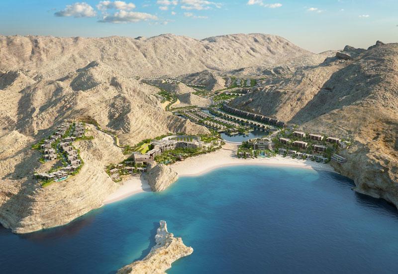 CGI of the Saraya Bandar Jissah resort in the Hajjar mountains
