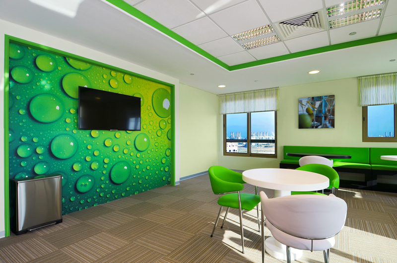 The lime green inspired staff café.
