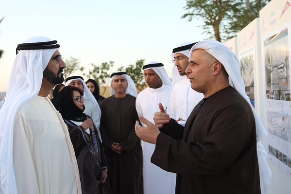 RTA chief HE Mattar Al Tayer [right] accompanied the Dubai Ruler on tour. [Image: Twitter/DXBMediaOffice]