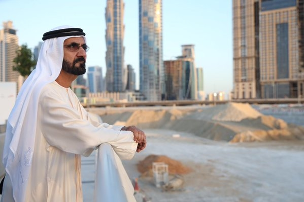 HH Sheikh Mohammed visited the construction site of Dubai Water Canal. [Image: Twitter/DXBMediaOffice]
