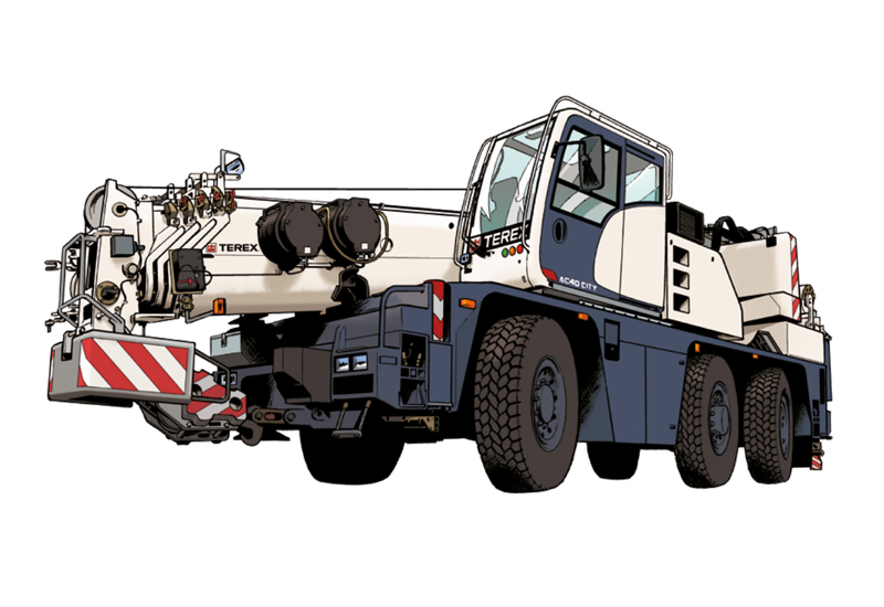 An illustrated version of the Terex AC 40 City crane.