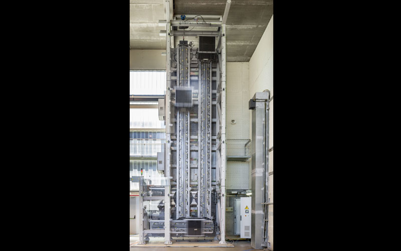 The 1:3 scale model of ThyssenKrupp's rope-free elevator system, Multi, features four cabins on loop operation.