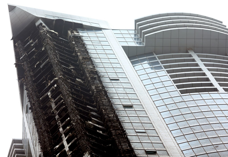 The Torch Tower in Dubai Marina in the aftermath of the fire (Photo: Warren Little / Getty Images)