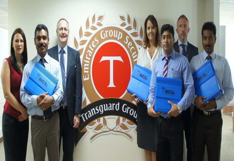 Transguard gains BICSc accreditation. Pictured above, second from right, Mike Kitchen, Head of FM Cleaning and Hospitality, Transguard Group