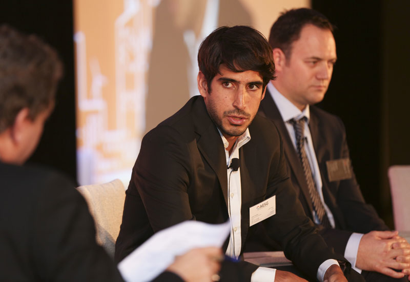 Saeed Al Abbar (centre) speaking at the UAE Infrastructure Panel, with Nathan Cartwright of GAJ (right)