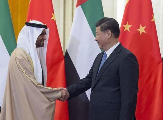 HH Sheikh Mohamed bin Zayed Al Nahyan (left), met with Xi Jinping (right) in China.