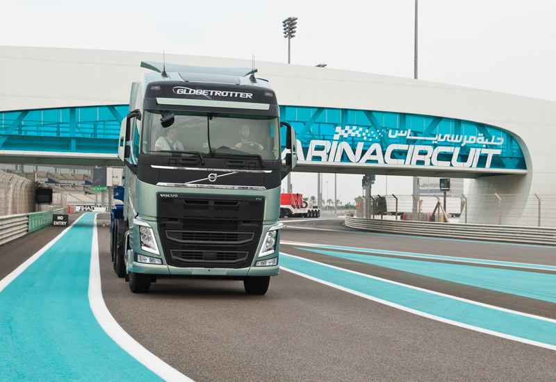 The new Volvo FH at the Yas Marina Circuit in Abu Dhabi.