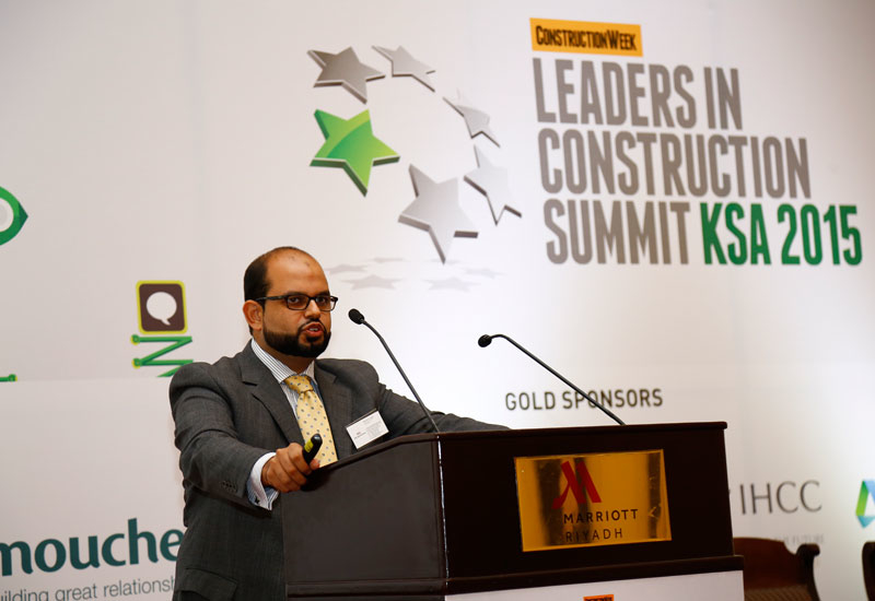 Haroon Niazi, vice president and country manager, Hill International Saudi Arabia, speaking at the Leaders in Construction Summit KSA 2015 in Riyadh.