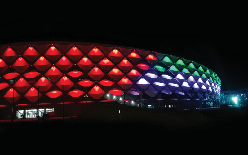 The stadium's facade was illuminated to present the UAE flag for National Day in early December.