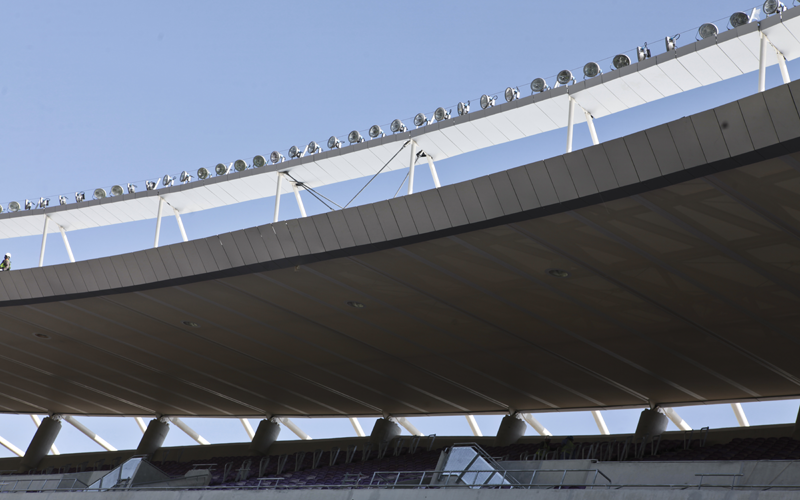 """The stadium's floodlighting system adopts a """"ring of fire"""" design which can produce 1,700 lux."""