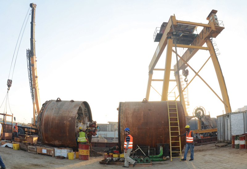 Building capacity: A jacking machine installs pipes on an Almabani job to deliver a new sewerage network in south Jeddah.