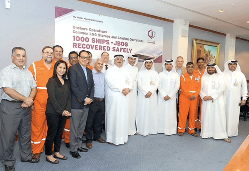 Officials at the Qatargas headquarters to celebrate the achievement.