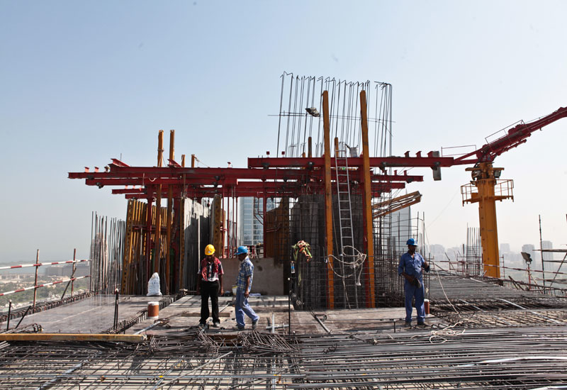 Shapoorji Pallonji workers on the site of the new Landmark HQ in Dubai Marina