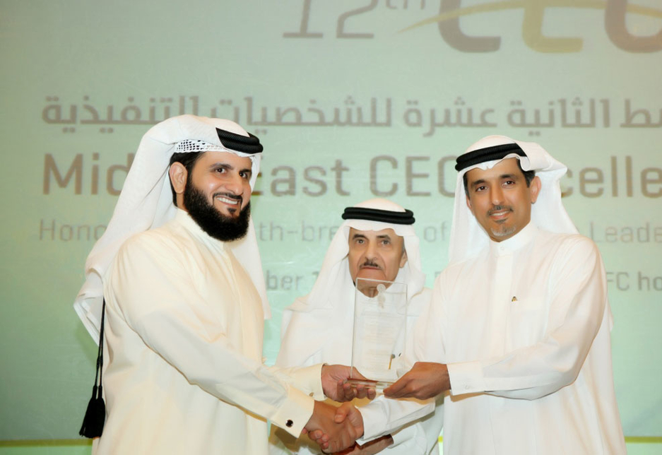 Jamal Lootah takes the stage to receive his award.