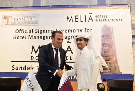 Meliá Hotels International vice president and CEO Gabriel Escarrer and Tamniyat Qatar Real Estate Investment chairman and CEO His Excellency Dr. Braik