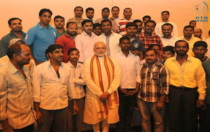 Indian PM Narendra Modi met with Indian workers at ICAD. [Image Courtesy: WAM]