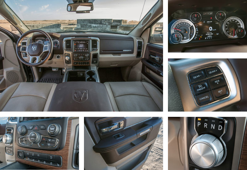 The interior of the Laramie-spec 1500 provided to PMV was plush and sophisticated. Some of the pickup's features lend the air of a luxury sedan; other
