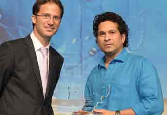 Sachin Tendulkar and Schneider Electric vice president, retail and eco control business, Jean-Baptiste Plagne at the launch event.