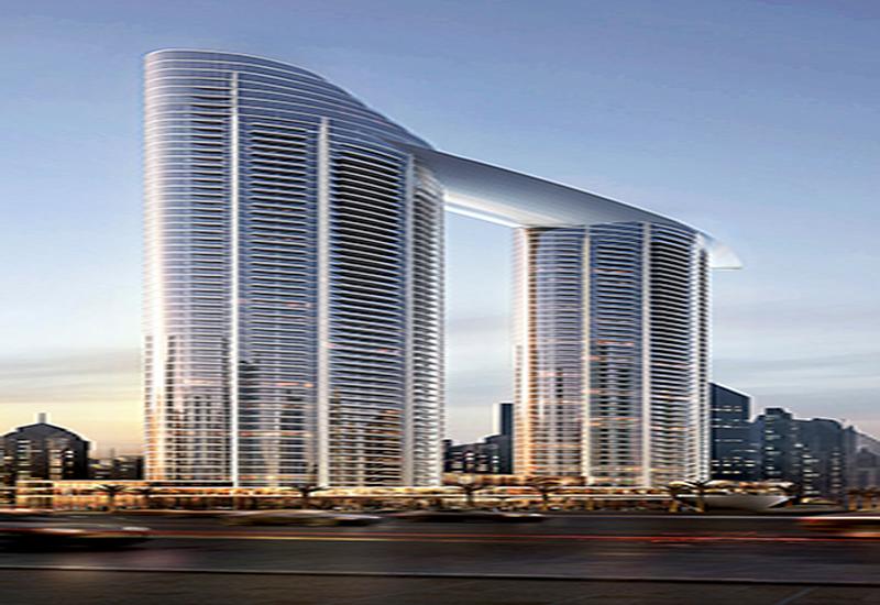 Sky Views construction site in Dubai.