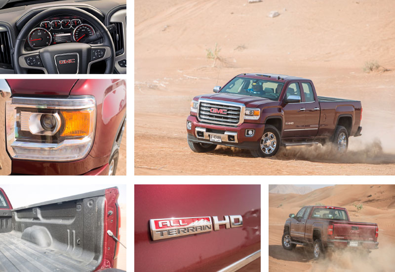 The GMC Sierra 2500HD All Terrain is a four-tonne truck that stands 2m tall and stretches to over 6.5m in length. The muscular pickup is fitted with a