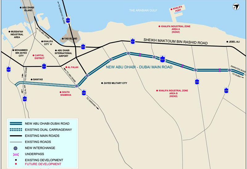 The new 62km road will connect Dubai and Abu Dhabi.