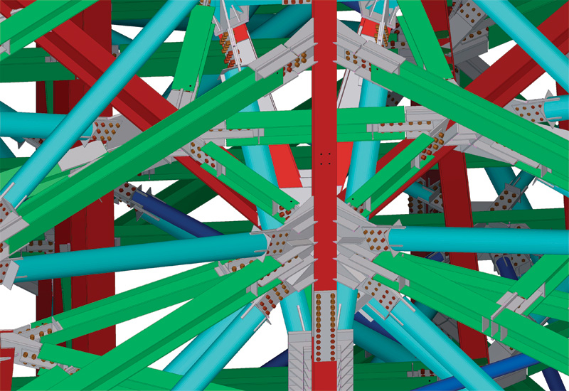An example of 3D-modelled steel connections using Tekla BIM software.
