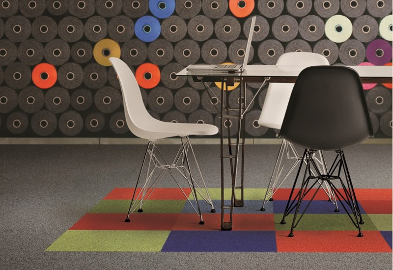 More than 365 colours and 20 styles of Interface carpet tiles are now available with 100% recycled yarn.