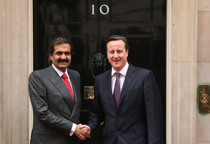 David Cameron and Sheikh Hamad bin Khalifa Al Thani.