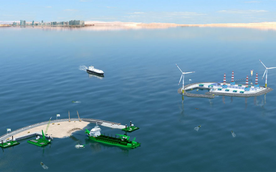 The artificial islands, each with a surface area of 0.25km2, will facilitate oil and gas exploration.