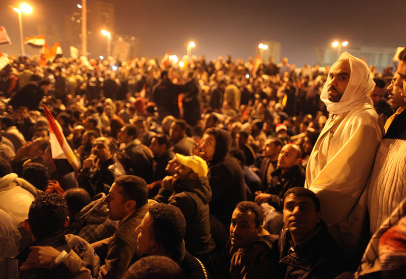 Demonstrators in Tahrir Square, Cairo.