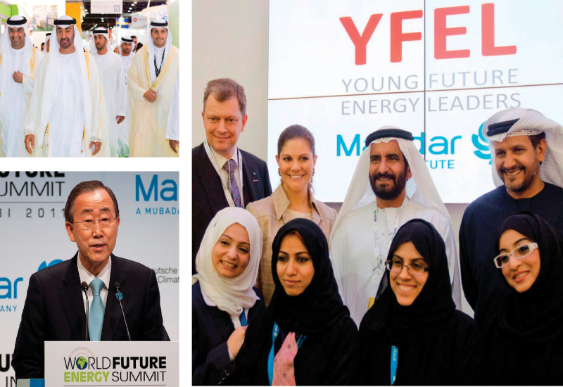 Clockwise from top; Dr Sultan Ahmed Al Jaber, CEO/MD, Masdar, HRH Crown Princess Victoria of Sweden meets with YFEL, His Excellency Ban Ki-Moon, Secre