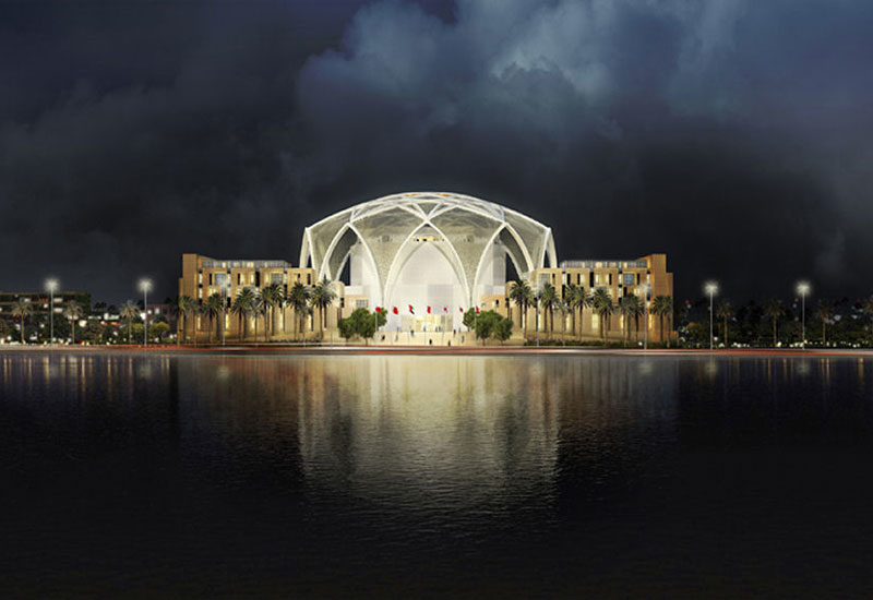The dome structure lit dramatically at night. Renderings: Ehrlich Architects.