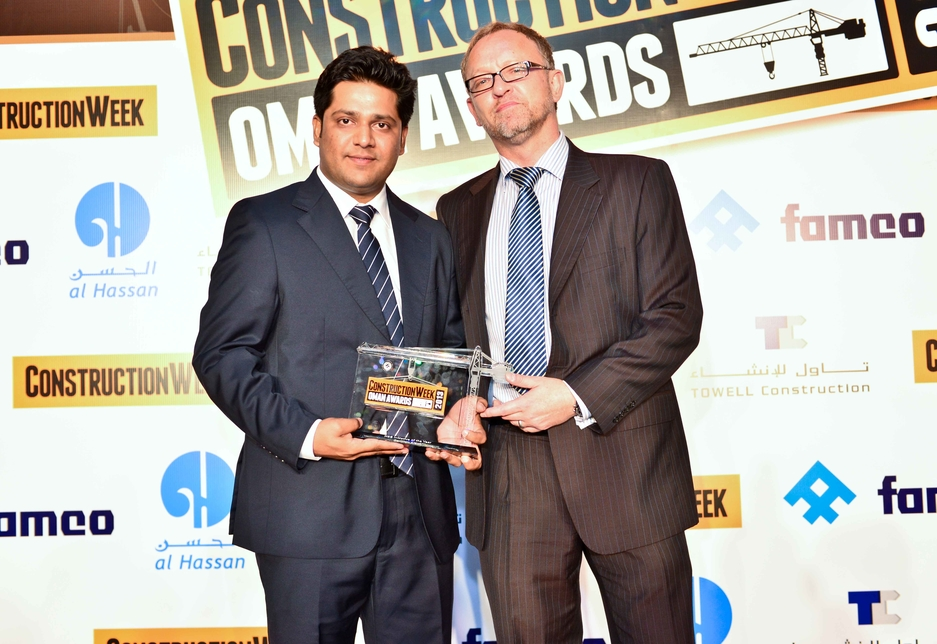 Ankur Bhuria, regional HSE manager, collected the HSE award from Construction Week's Gary Wright.