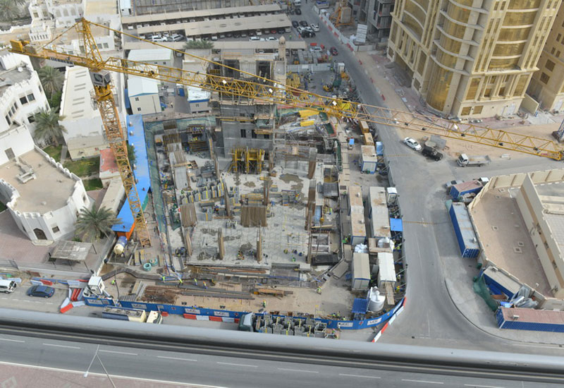 Construction site of the Hilton Hotel in Doha, Qatar.