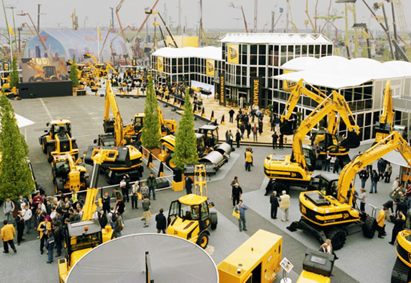 JCB's stand at Intermat in Paris. The company recently confirmed attendance at the Abu Dhabi show.