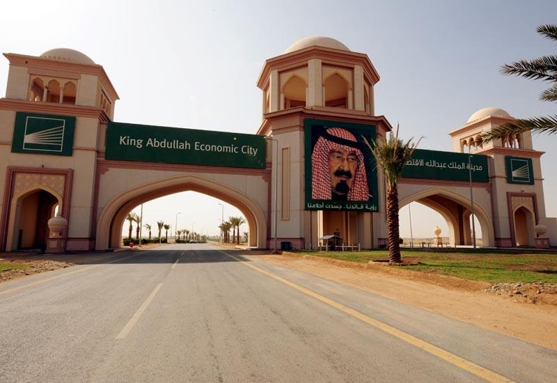 The entrance of King Abdullah Economic City in Jeddah.