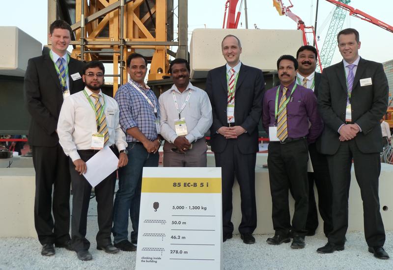 l-r: David Griffin and Khaja Saleemuddin (Liebherr), Manikath Pramod (Gopalan Enterprises), Katthirvelu Ilango (Sai Infraa Equipments), Jan Liebherr,