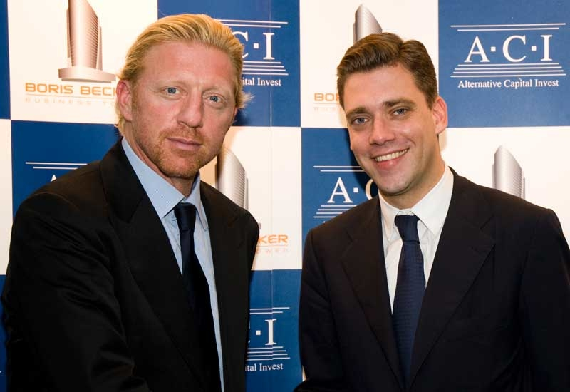 Tennis legend Boris Becker (left) and ACI CEO Robin Lohmann, at the launch of the Boris Becker towers in 2008. ITP image.