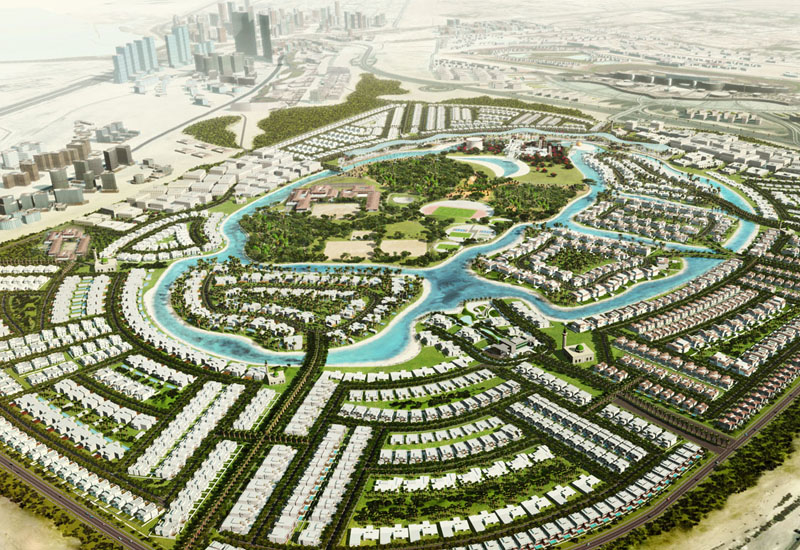 An aerial view of the overall masterplan for MBR City District One, its seven kilometres of waterways and 60% ratio of green and open space
