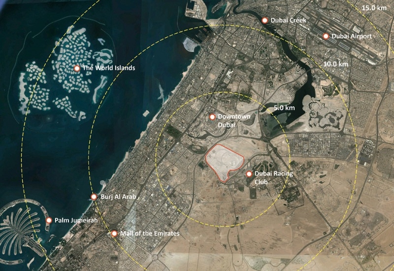 The placement of MBR City District One in relation to the rest of Dubai