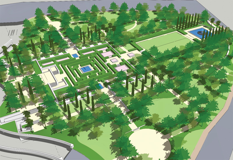 The verdant landscaping design was by Verdaus.