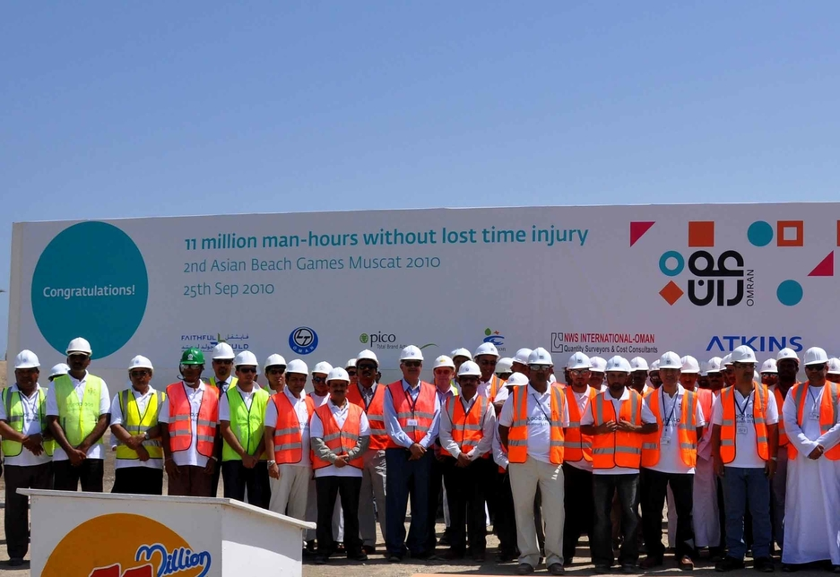 Omran staff and contractors at the Asian Beach Games site.