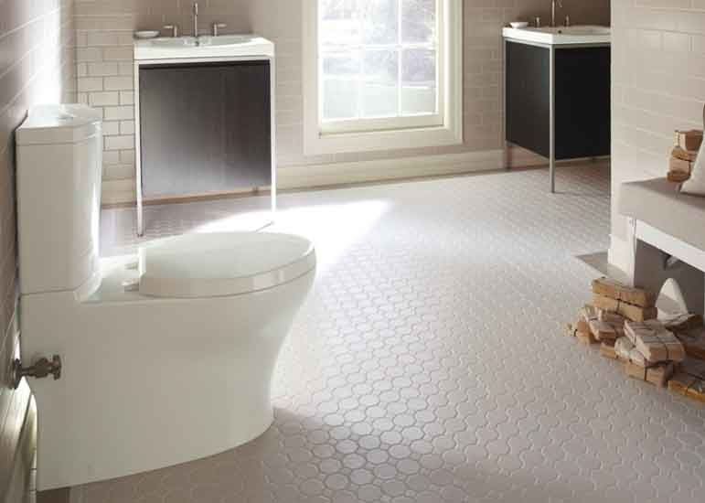 The collection includes a seamless, one-piece lavatory, a petite vanity, a full-height vanity and a console table.
