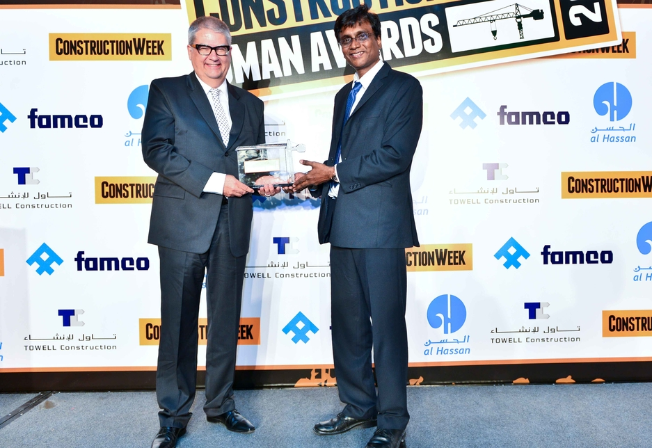 Richard Lisker (l) was presented with the award by Gopalkrishnan Satyamurthy of Towell Construction.