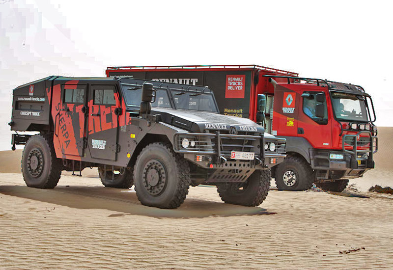 The Sherpa (foreground) and Kerax 6x6 race truck. Photo: C Gerbich