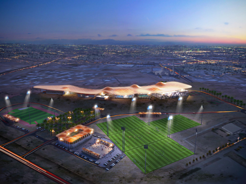 A CGI rendering of The Sultan Qaboos Sports Academy in Muscat