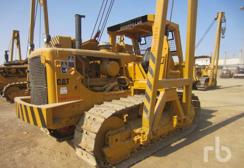One of the Caterpillar side booms to be auctioned in Dubai.