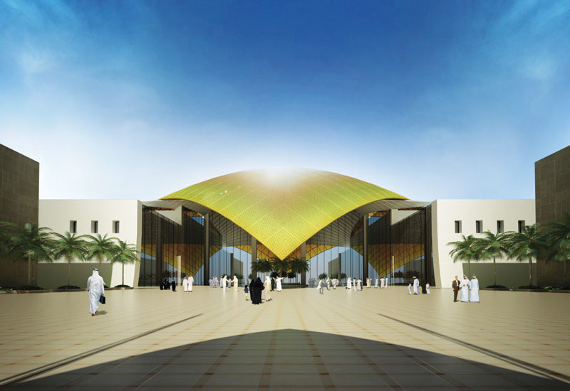 The Convention Centre is housed under a giant shell-like canopy clad in bronzed metal panels