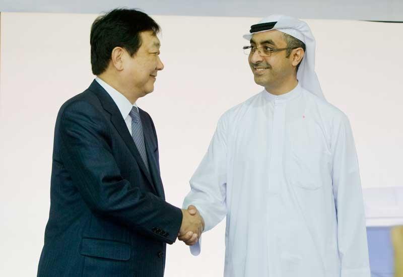 Harry Choi, vice chairman of Hyundai Heavy Commercial Vehicles, and Khalid Juma Al Majid, the vice chairman of Juma Al Majid Group.