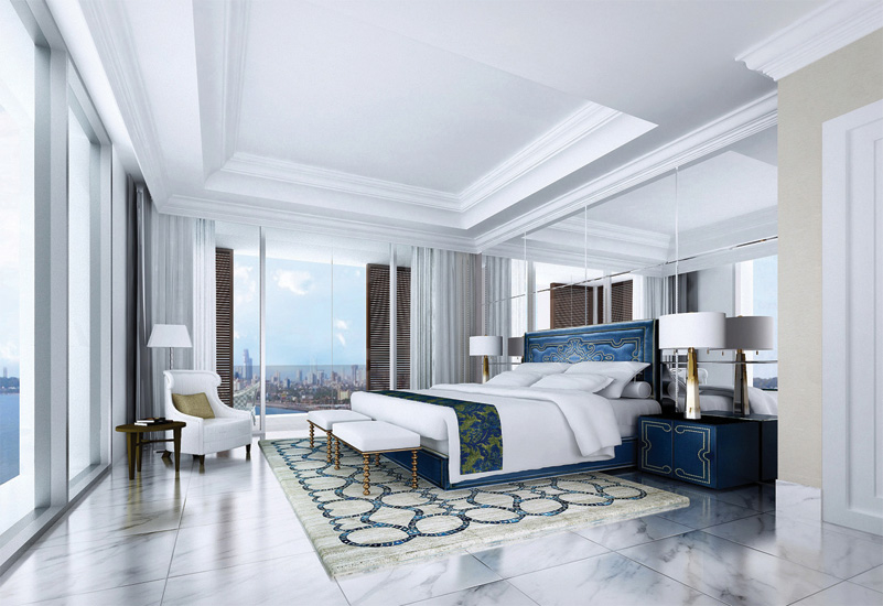 A master bedroom in the Trump Tower, India.